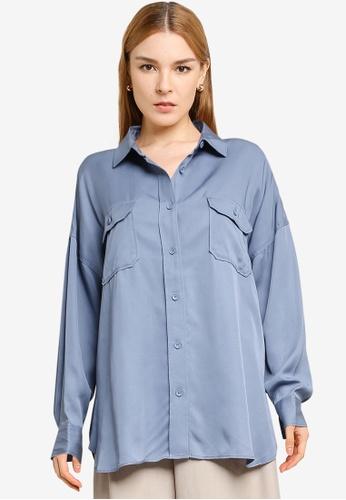 LOWRYS FARM blue Oversized Waist Tie Shirt 8E92CAA5718214GS_1
