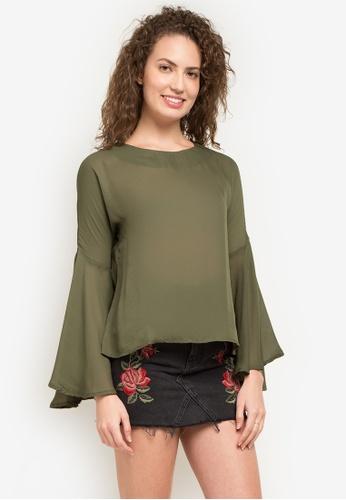 Chloe Edit green Camille Long Sleeve Flowy Top Bell Sleeves CH672AA0KAD6PH_1