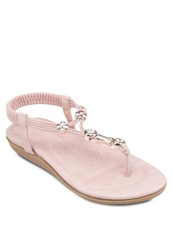 四zalora 男鞋 評價葉草閃飾夾腳涼鞋, 女鞋, 鞋
