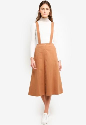 Eyescream brown Button Down Pinafore Skirt ADF2DAAC4C185CGS_1