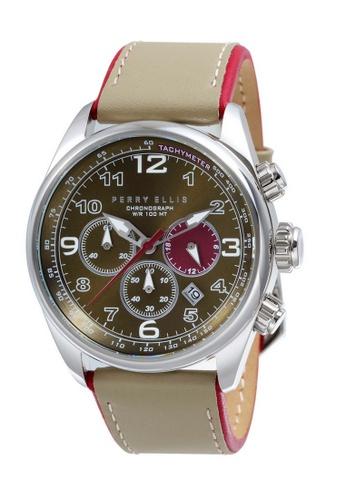 PERRY ELLIS beige Perry Ellis GT Men Chronograph 44mm Quartz Watch 01004-01 03829ACC432266GS_1