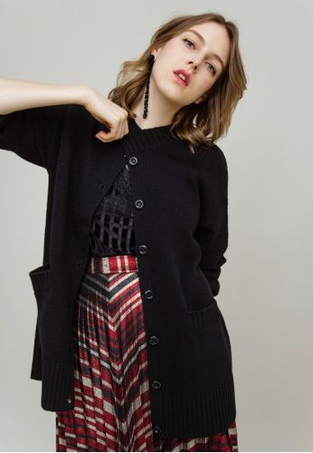 KLAPS black Long Cardigan with Front Pockets 24B16AAD99ACE4GS_1