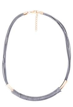 Leather w/ gold Bar Necklace
