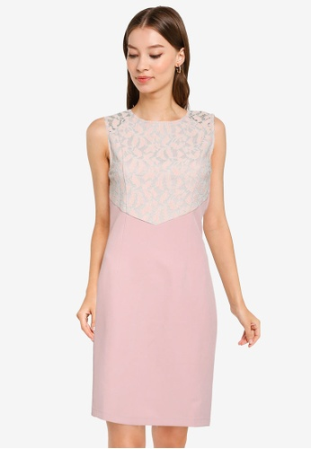 ZALORA OCCASION pink Lace Blocked Dress AF89AAA7F35D3BGS_1