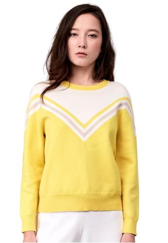 22 Factor yellow Dorothy Multi Colour Chevron Knit Top 42B8DAAFA56D36GS_1
