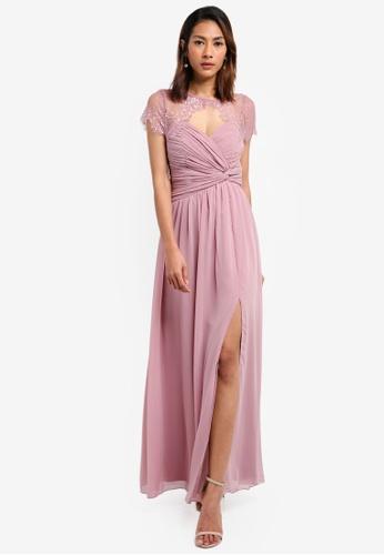 Little Mistress pink Chiffon Trim Dress 2CCF9AAACA6EC2GS_1
