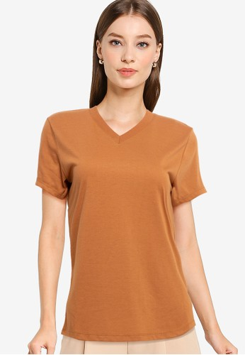 Tolliver brown V Neck Basic Short Sleeve Tee 002F0AA075DFF3GS_1
