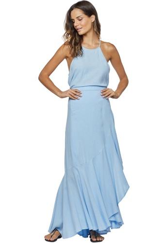 Cia Maritima blue Linen Wrapped Ruffled Skirt DE42CAA2372D42GS_1