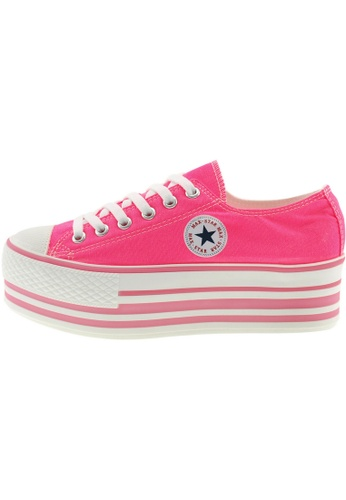 Maxstar 粉紅色 新款韩国鞋C50-6H-Fluorescent時尚帆布布混合女粉紅色 US Women Size MA345SH83GTWTW_1