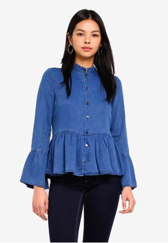 ONLY blue onlNICOLINE L/S FRILL SHIRT DNM 654C5AA7DF70BAGS_1