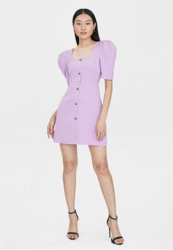 Pomelo purple Mini Button Down Puffed Sleeves Dress - Purple 82B35AA7681702GS_1