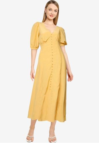 Forever New yellow Belle Puff Sleeve Midi Dress 2E8CBAA222E8CDGS_1