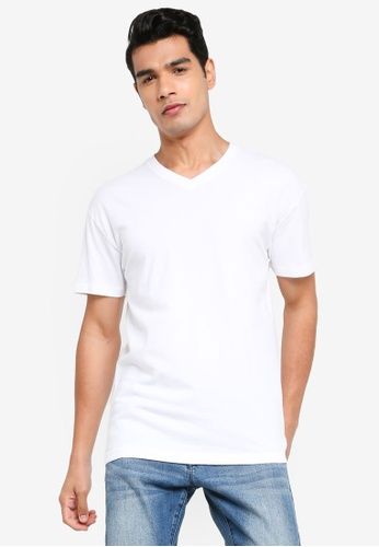 ABERCROMBIE & FITCH white Essential V-Neck T-Shirt F6ABEAA449E83CGS_1