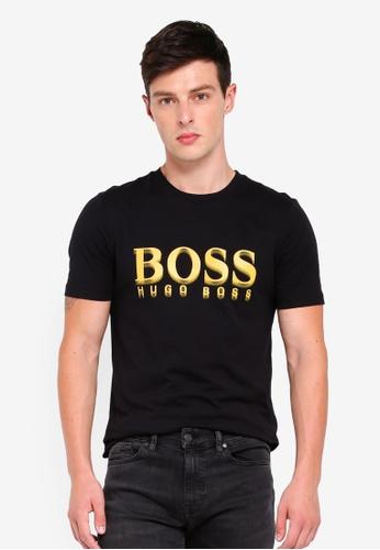 BOSS 黑色 短袖LOGO印花T恤 6D98CAAC5544DAGS_1