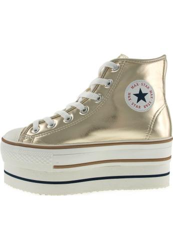Maxstar 金色 新款韩国鞋CN9-8H-TC時尚皮革布混合女金色 US Women Size MA345SH63HGETW_1
