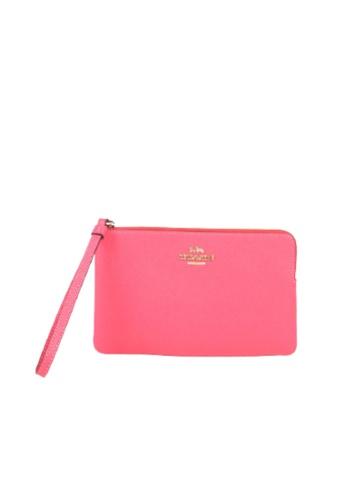 COACH pink Coach Large Corner Zip 3888 Wristlet In Fuchsia 215EBAC0CE057BGS_1