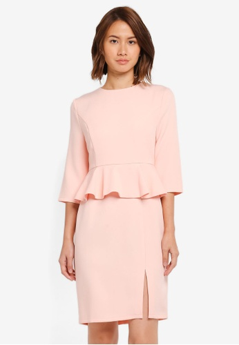 ZALORA pink Fitted Peplum Dress CCA47AAABE4C94GS_1