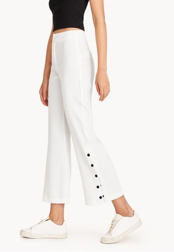 Pomelo white Rhia Buttoned Slit Pants - White 80DC2AA465760DGS_1