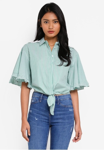 River Island green Ss Caggie Crop Shirt 612F8AACEEDED2GS_1