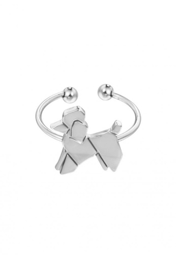 LOVENGIFTS silver LOVENGIFTS Origami Poodle Adjustable Ring (Silver) LO429AC95HZCMY_1