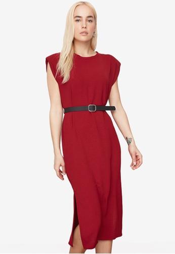 Trendyol red Padded Shoulder Midi Belt Dress AD7EAAA4EA6557GS_1