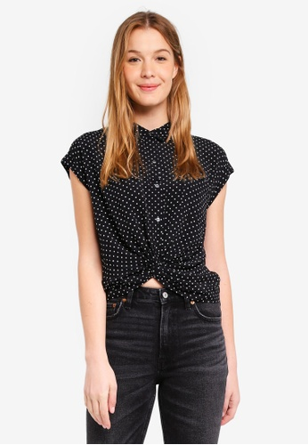 Abercrombie & Fitch black Knot Front Blouse FAE2CAABD07789GS_1