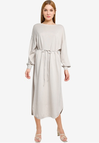 LOWRYS FARM white Oversized Knitted Midi Dress 26AFBAA03D7FDDGS_1