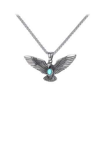 Glamorousky blue Fashion Domineering Eagle Blue Turquoise 316L Stainless Steel Pendant with Necklace 1D0A3ACAC258DEGS_1