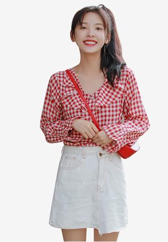 Shopsfashion red Checked Full Sleeve Blouse EB212AADBDFE3BGS_1