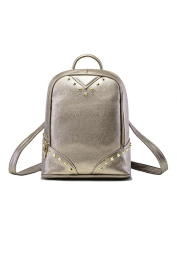 Vince gold Korean Inspired Woman Backpack In Vegan Leather ( Gold ) VI456AC43NGAMY_1