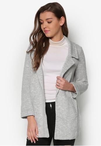 暗紋長版西裝外套,salon esprit 服飾, 外套