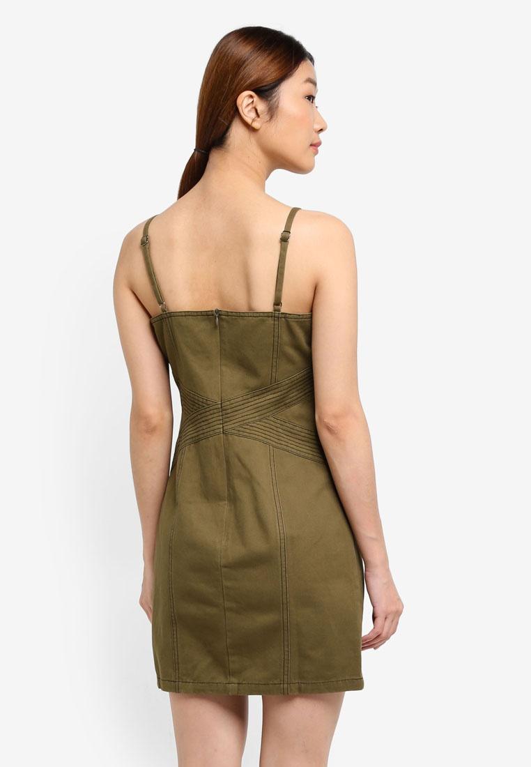 Cami Borrowed Green Something Contrast Stitch Dress Army qwIfnHxa5F