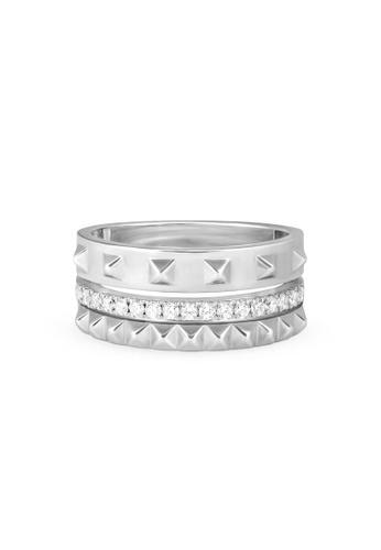 Aquae Jewels yellow Ring Rich & Bold Triplet Diamond Band – 18K Gold - White Gold 1FB0CAC420B3F6GS_1
