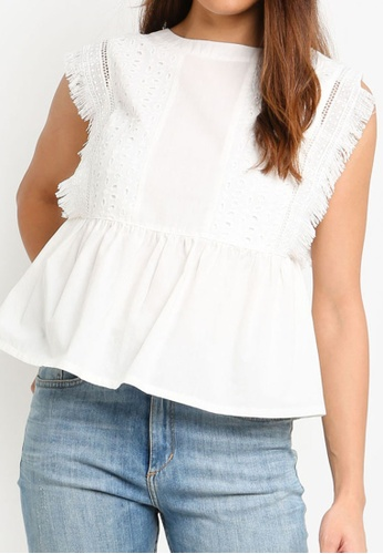 ZALORA white Embroidered Peplum Top 85BA4AA1793D88GS_1