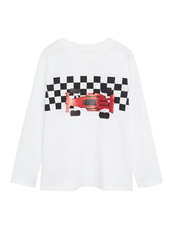 MANGO KIDS white Race Car T-Shirt 42A2CKAF9ED9DCGS_1