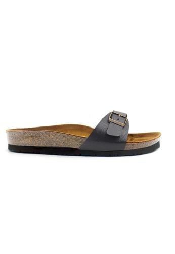 SoleSimple 黑色 Lyon - 蜥蜴紋理黑色 百搭/搭帶 軟木涼鞋 6C8B8SH31A9ADCGS_1