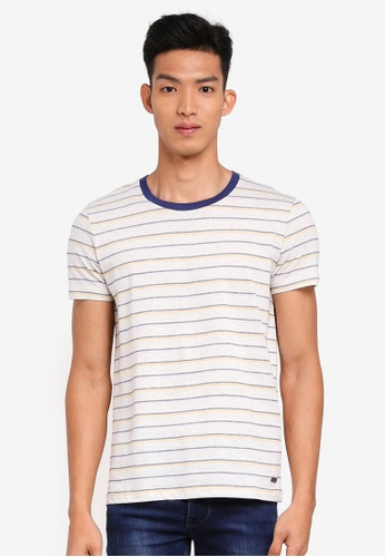 ESPRIT 白色 休閒條紋T恤 4234DAA4A489D7GS_1