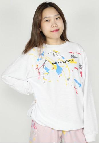 NOOB white Sweater Text Graffiti B8F46AAB78D9F3GS_1