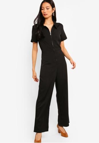ZALORA black Zip Up Jumpsuit B7819AACD822DFGS_1