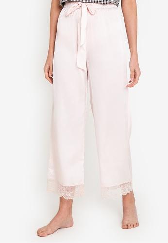 ZALORA BASICS pink Lounge Lace Hem Wide Leg Pants C5FC9AAE82CD16GS_1