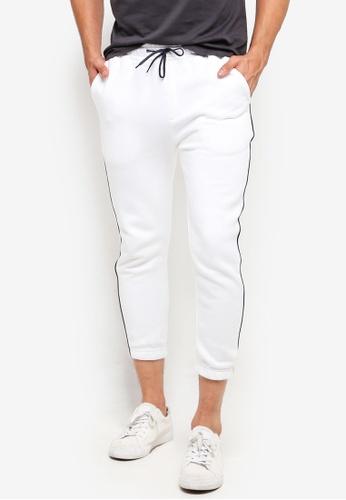 UniqTee 白色 Piped 側Smart 慢跑褲 44C8BAA24F464DGS_1