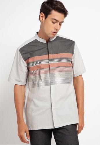 Introspect clothing grey Kemeja Koko 98B8AAA0CCFF61GS_1