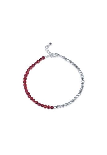 MBLife silver 925 Sterling Silver Red Garnet Beads Bracelet 3B151AC464B171GS_1