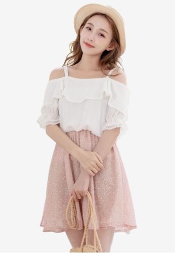Eyescream pink Faux 2 Piece Cold Shoulder Floral Dress F7AF8AA23CC1D9GS_1