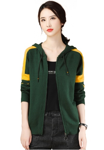 A-IN GIRLS yellow and green Fashion Contrast Color Hooded Knitted Jacket D2E04AABE5BA32GS_1