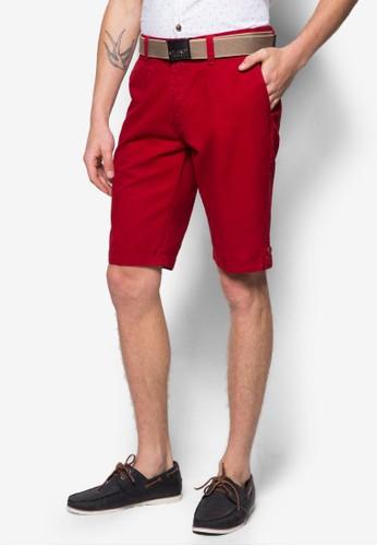 腰帶休閒短褲, 服飾,zalora taiwan 時尚購物網 短褲