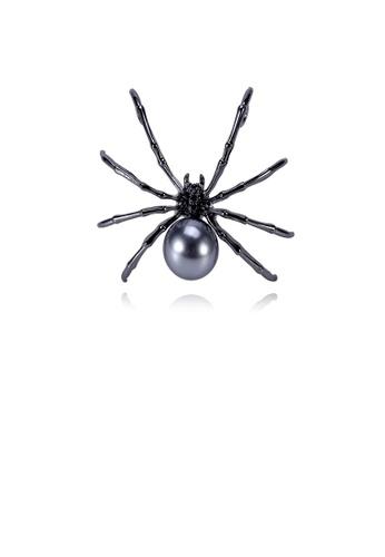 Glamorousky black Fashion Personality Spider Black Imitation Pearl Brooch 37F90ACF83572BGS_1
