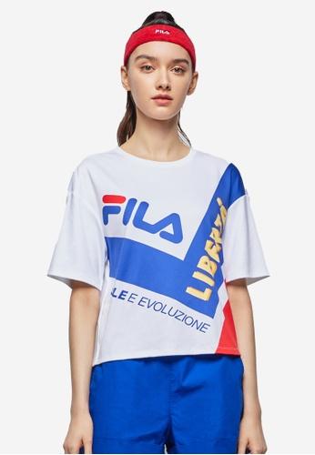 FILA white FILA Logo Colour Blocks Cotton T-shirt 34762AAA905ED9GS_1