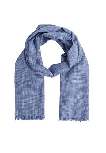 MANGO Man blue Houndstooth Cotton Scarf 927E8AC20D31AFGS_1