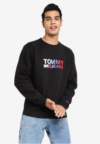 Tommy Hilfiger black Ombre Corp Logo Crew Neck Sweatshirt - Tommy Jeans FA07DAA2C2E2EDGS_1